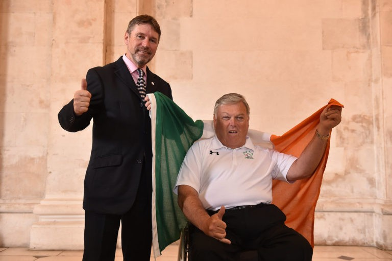 5 July 2016; Denis Toomey, left, Chef de Mission, Paralympics Ireland for Rio 2016 Games with John Twomey from Co. Cork at the official announcement of the Irish Paralympic Team for the 2016 Rio Paralympic Games at City Hall in Dublin. Photo by Paul Mohan/Sportsfile *** NO REPRODUCTION FEE ***